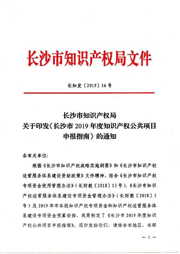 长沙市2019年度知识产权公共项目申报